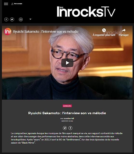Ryuichi Sakamoto : l'interview des Inrockuptibles