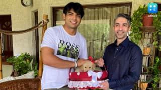 The 'golden' meet! Abhinav Bindra meets Neeraj Chopra & gifts him a golden puppy