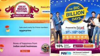 Flipkart Big Billion Days, Amazon Great Indian Festival Sales now both begin October 3