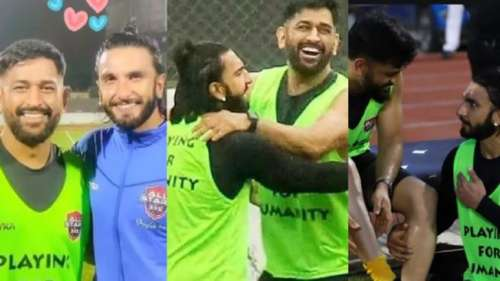 Watch: Ranveer Singh bonds withMS Dhoni during a football match in Mumbai