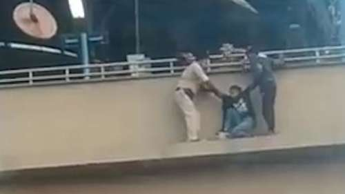 Caught on camera: girl attempting suicide at Faridabad metro station rescued by police