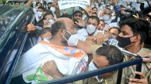 Pegasus row: Congress' UP chief, other state leaders held after clashes with police
