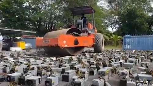 Crypto Crushed! Malaysia destroys 1000 Bitcoin mining rigs with a steamroller