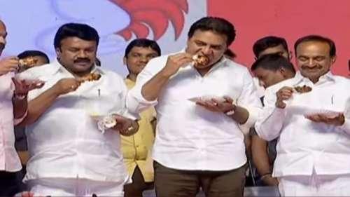 हैदराबाद में उठी कोरोना की अफवाह, चौराहे पर चिकेन खाए मंत्री और विधायक