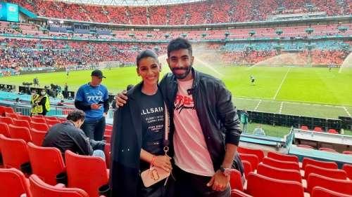 Bumrah enjoys Italy vs Spain Euro semi-final with wife Sanjana