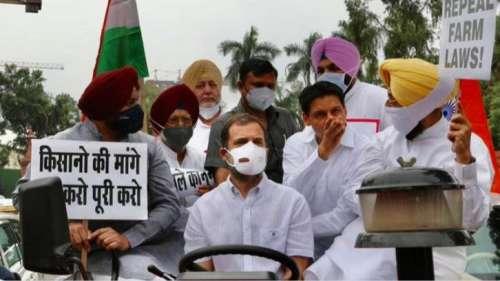 Rahul on Tractor: ट्रैक्टर चलाकर संसद पहुंचे राहुल गांधी, बोले- सरकार को कृषि कानूनों को वापस लेना होगा