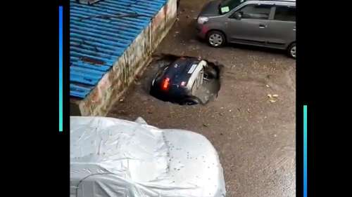 On camera: parked car swallowed by sinkhole in Mumbai housing complex