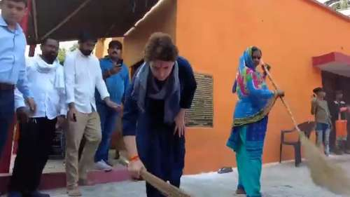 'Yogi's remark anti-Dalit': Priyanka Gandhi sweeps Valmiki temple floor. Watch