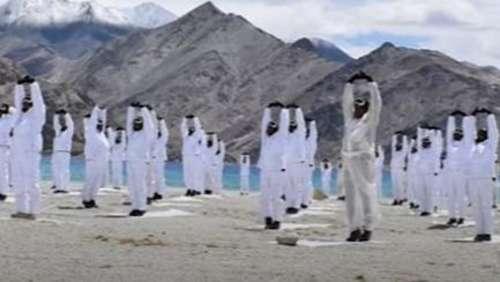 Yoga at icy Galwan valley