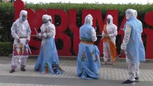 Surat students design & perform in PPE-inspired garba outfits