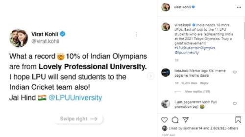 Virat Kohli's Lovely Professional promotion trends for a different reason