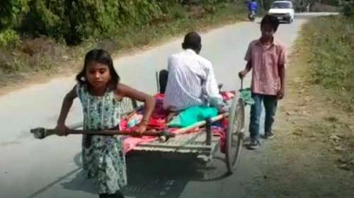 10-year old radhika pulled a cart for 3 kms to ferry her ailing father