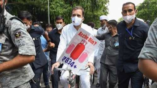 Rahul rides bicycle to Parliament, PM Modi slams opposition for disruption