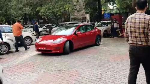 Tesla test drive in Delhi, watch as Road Secretary takes the EV for a spin