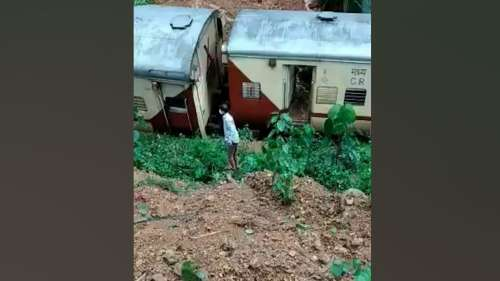 Video: Passenger train hit by rain triggered landslide in Goa, derails