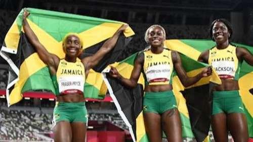 Jamaica sweep 100m podium