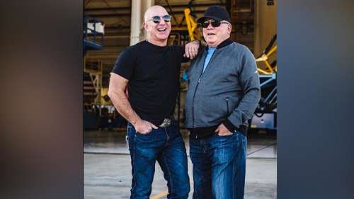 Watch: Star Trek fan moment for Bezos as Captain Kirk goes to space