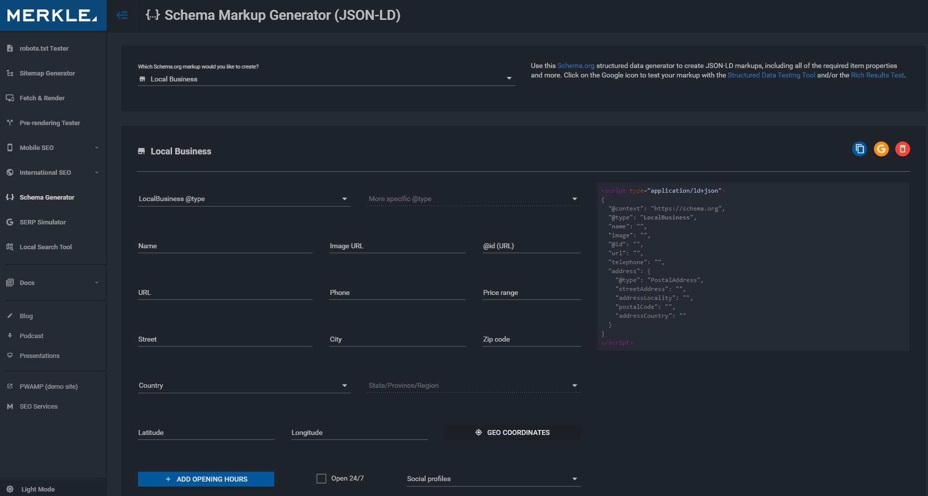 Генератор микроразметки Schema от Merkle