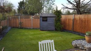 After finishing re-turfing the lawns and clearing the garden by Ed's Garden Maintenance