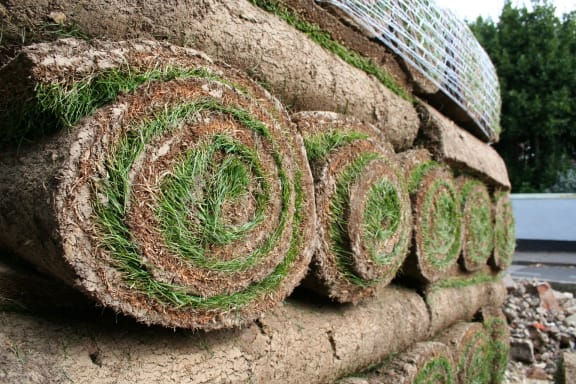 Rolls of turf ready for laying