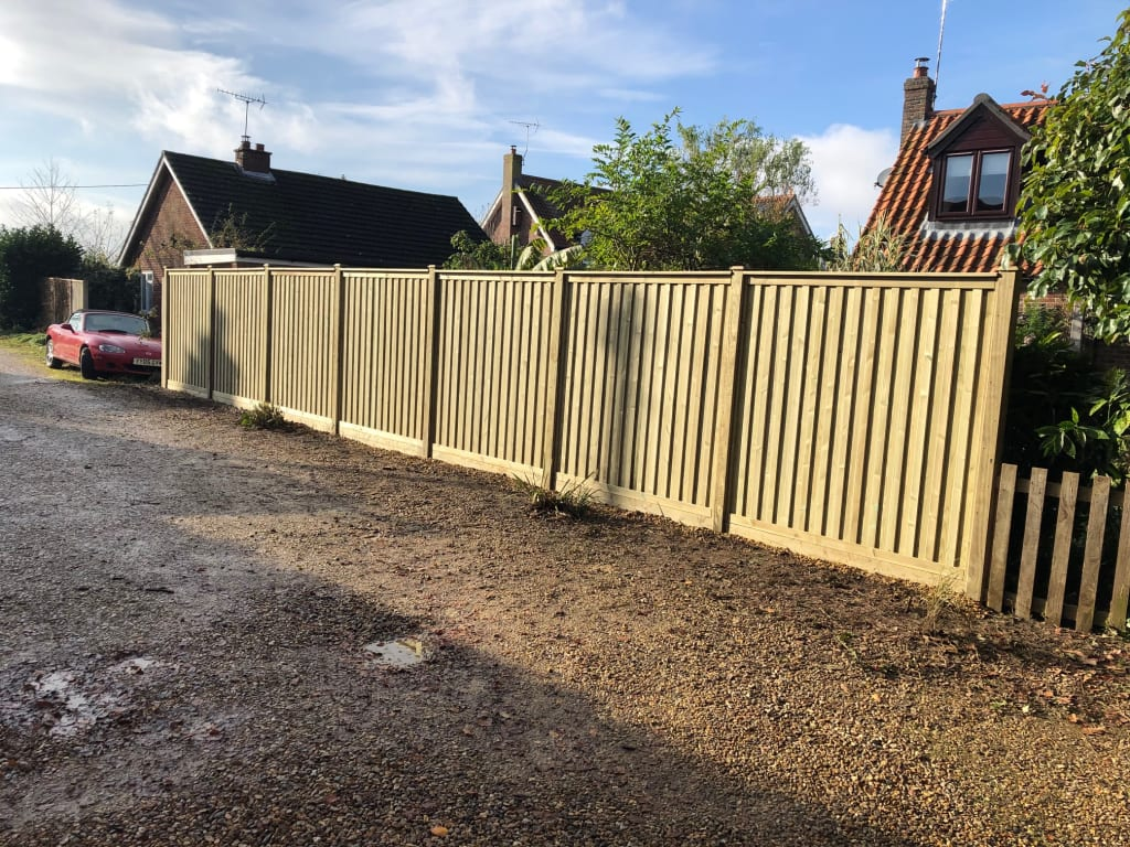 High quality double sided fencing delivered by Ed's Gardener Stuart from Norfolk