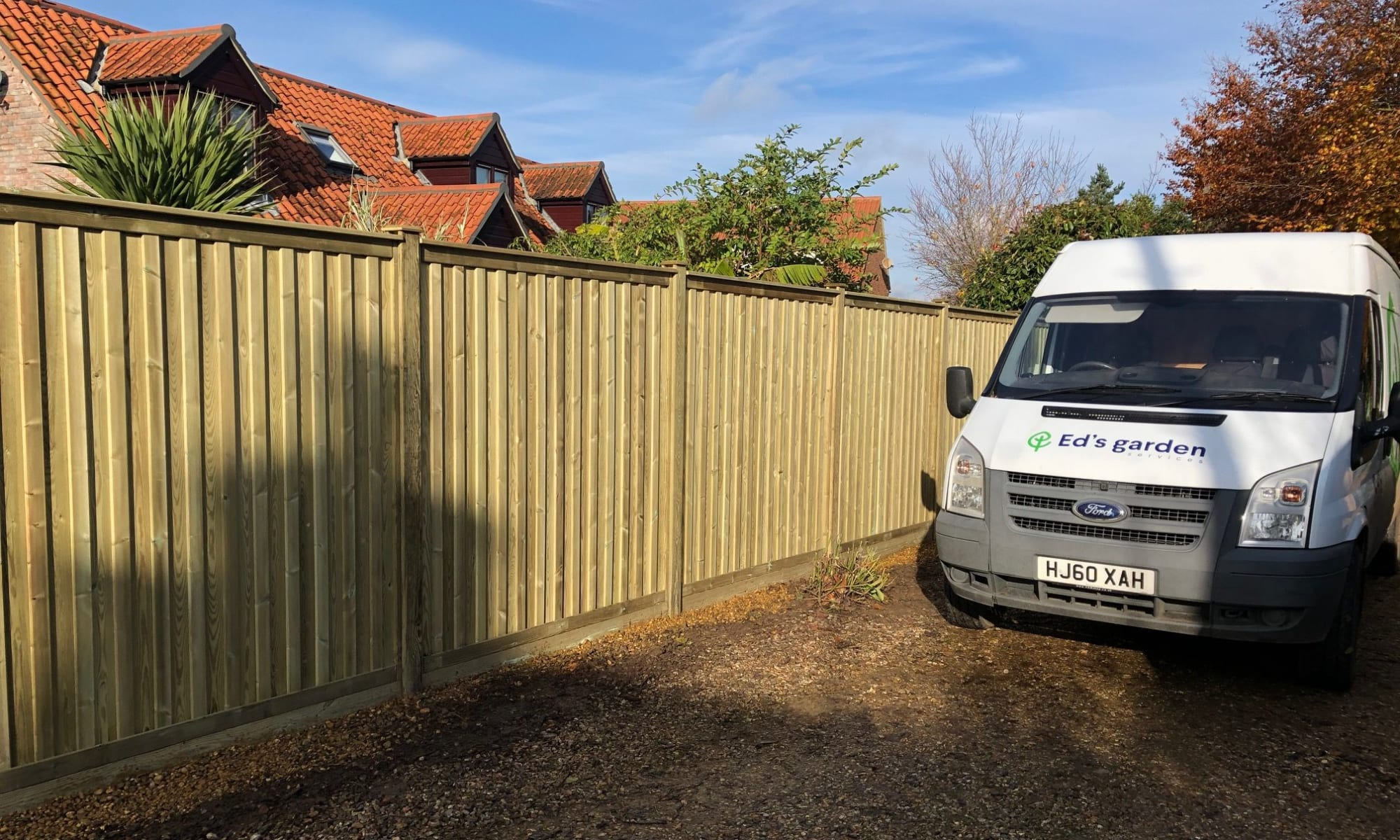 Fencing Project Completed with Ed's van beside