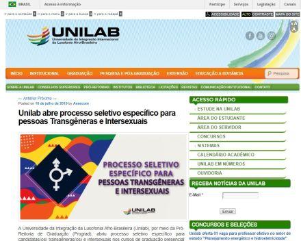 Universidade com campi na BA e no CE cancela vestibular para transgêneros e intersexuais após pedido do MEC