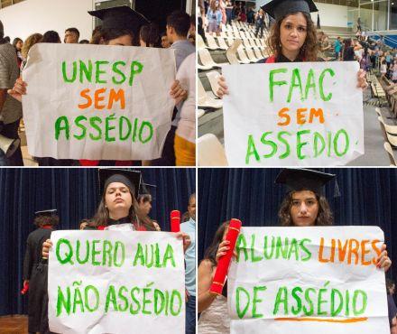 Universitárias da Unesp protestam contra professores durante formatura: 'Quero aula, não assédio'