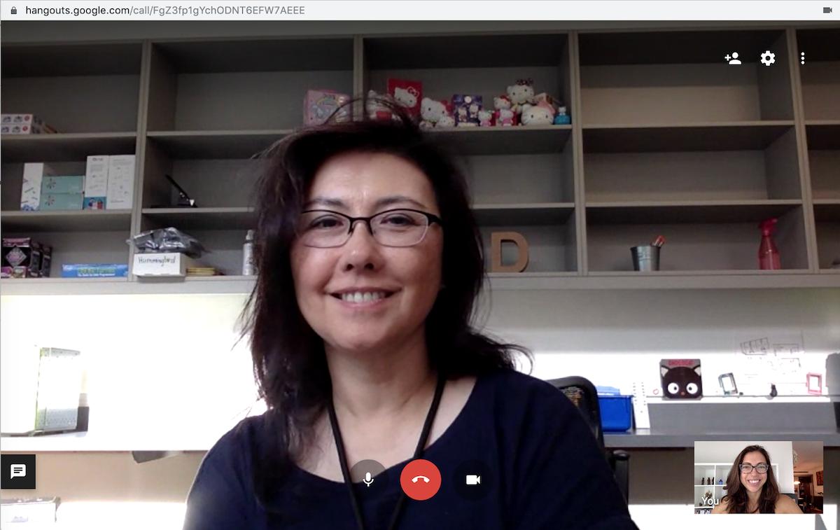 Kim & Debra talking via google hangouts