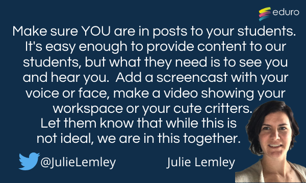 Julie Lemley top tip for online learning