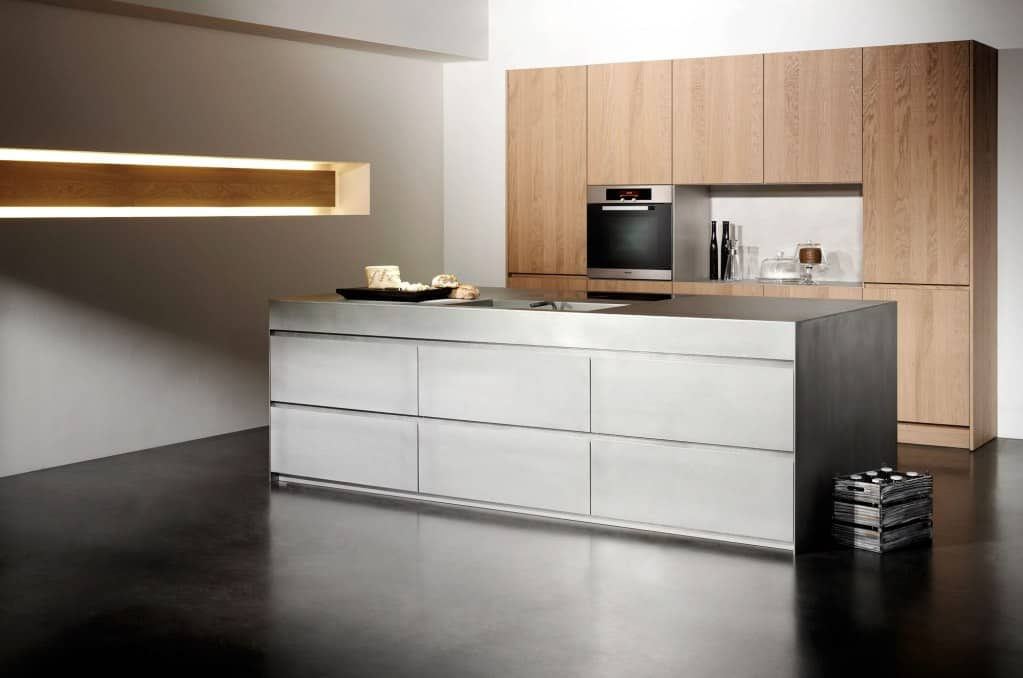 Kitchen Island in Silver Touch Hot Rolled Steel