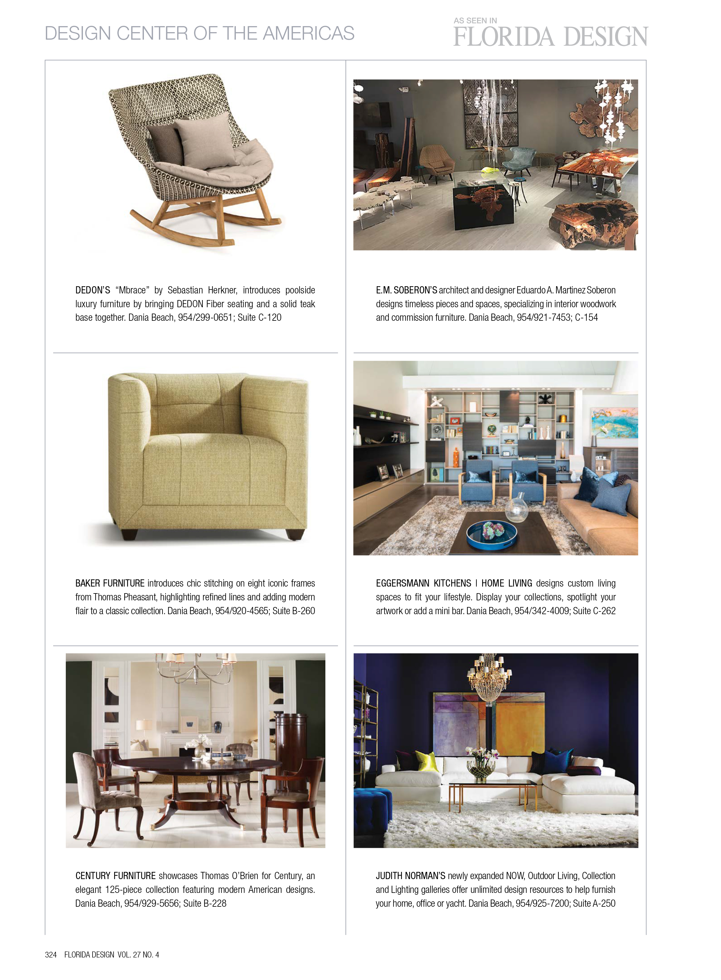 florida design magazine article featuring eggersmann cabinetry for solutions throughout the home