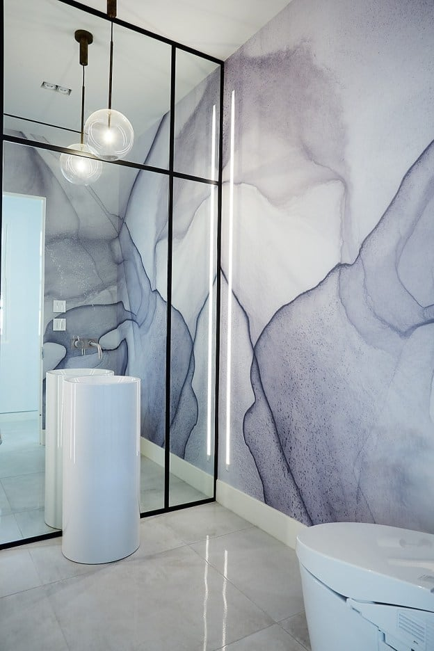 modern bathroom remodel project featured in modern reduction in california home magazine