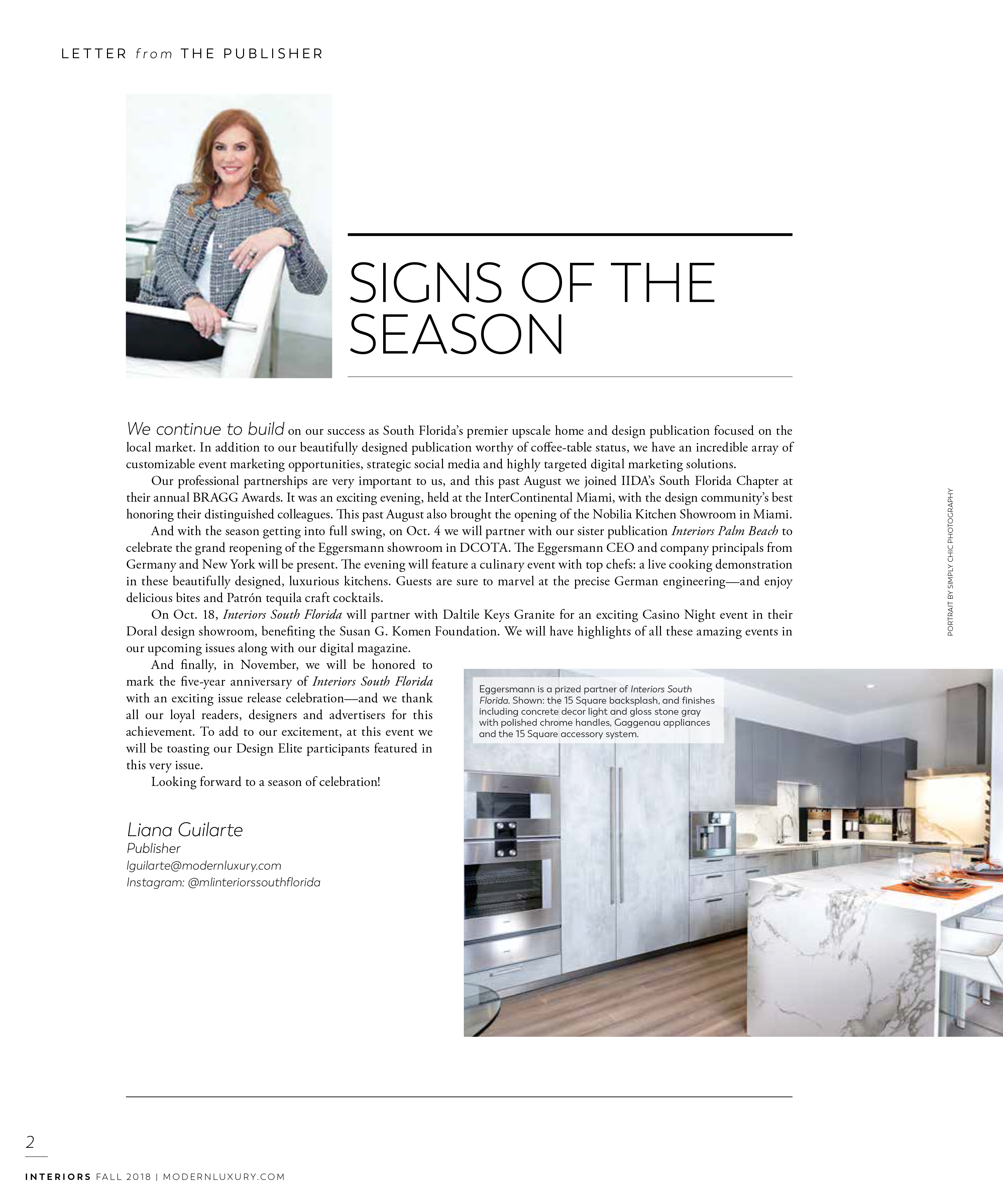 artical in modern luxury interiors florida about eggersmann's grand opening of the newly renovated showroom in the DCOTA building