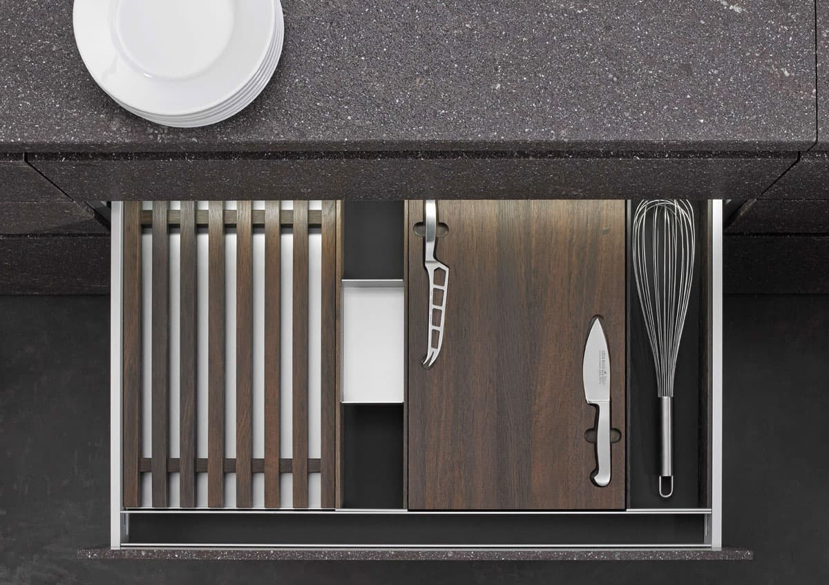 BoxTec - Smoked Oak bread cutting board, cheese cutting board & knives