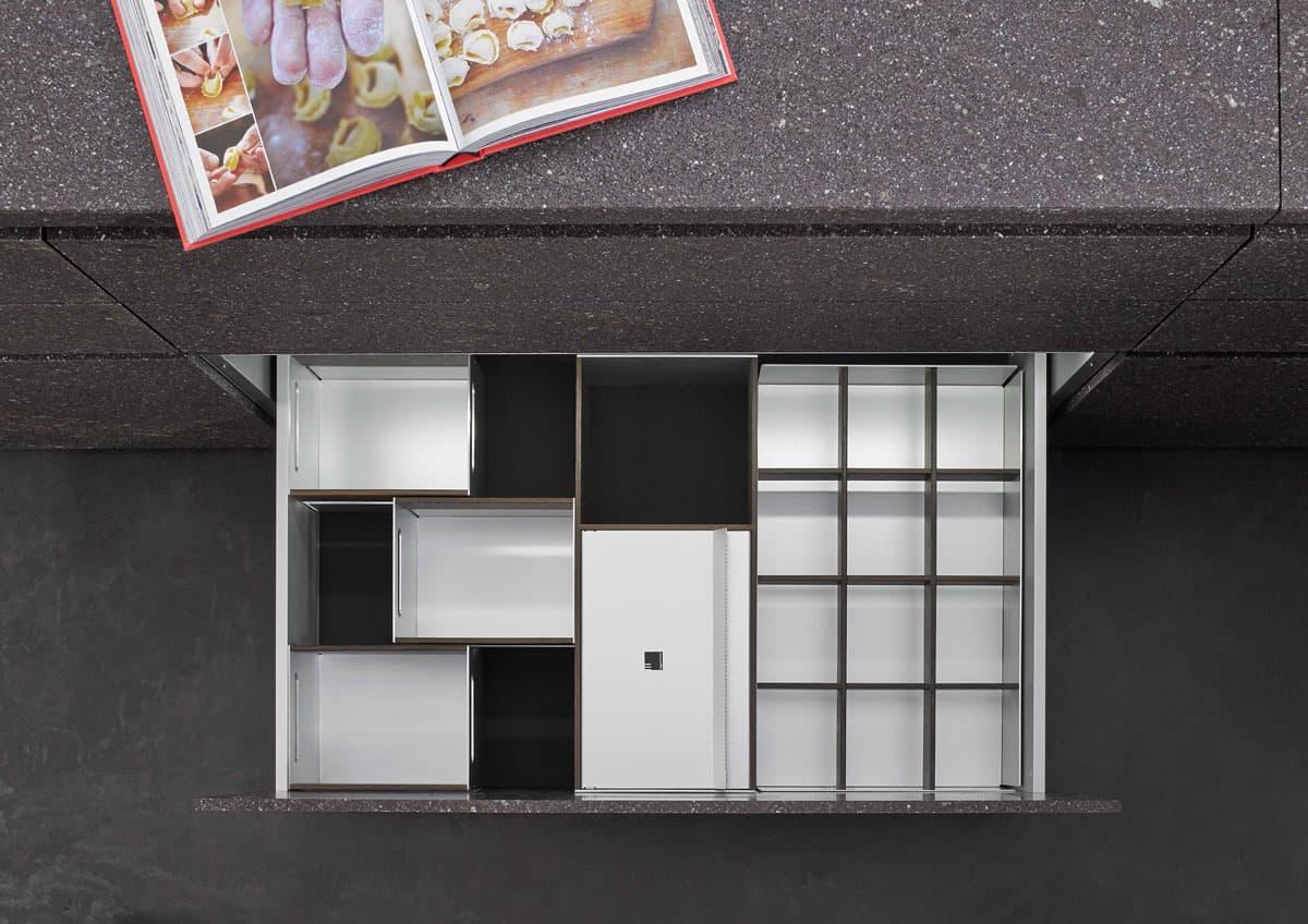 BoxTec - Smoked Oak storage bins, paper towel dispenser, bottle grid storage