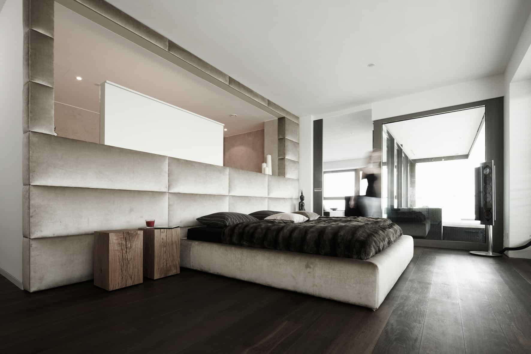eggersmann shelving and hideaway shelving create a clutter free modern luxury bedroom