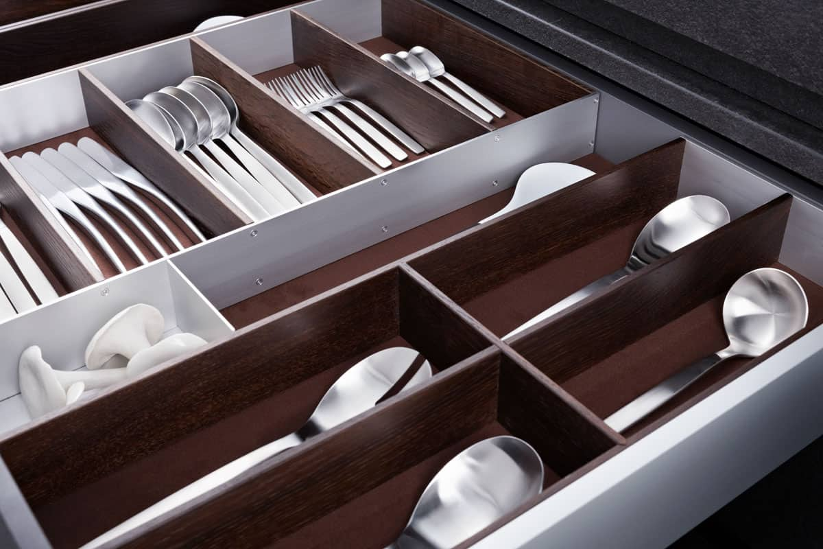 BoxTec - Aluminum drawer organization accessories for with Alcantera suede liner cutlery insert