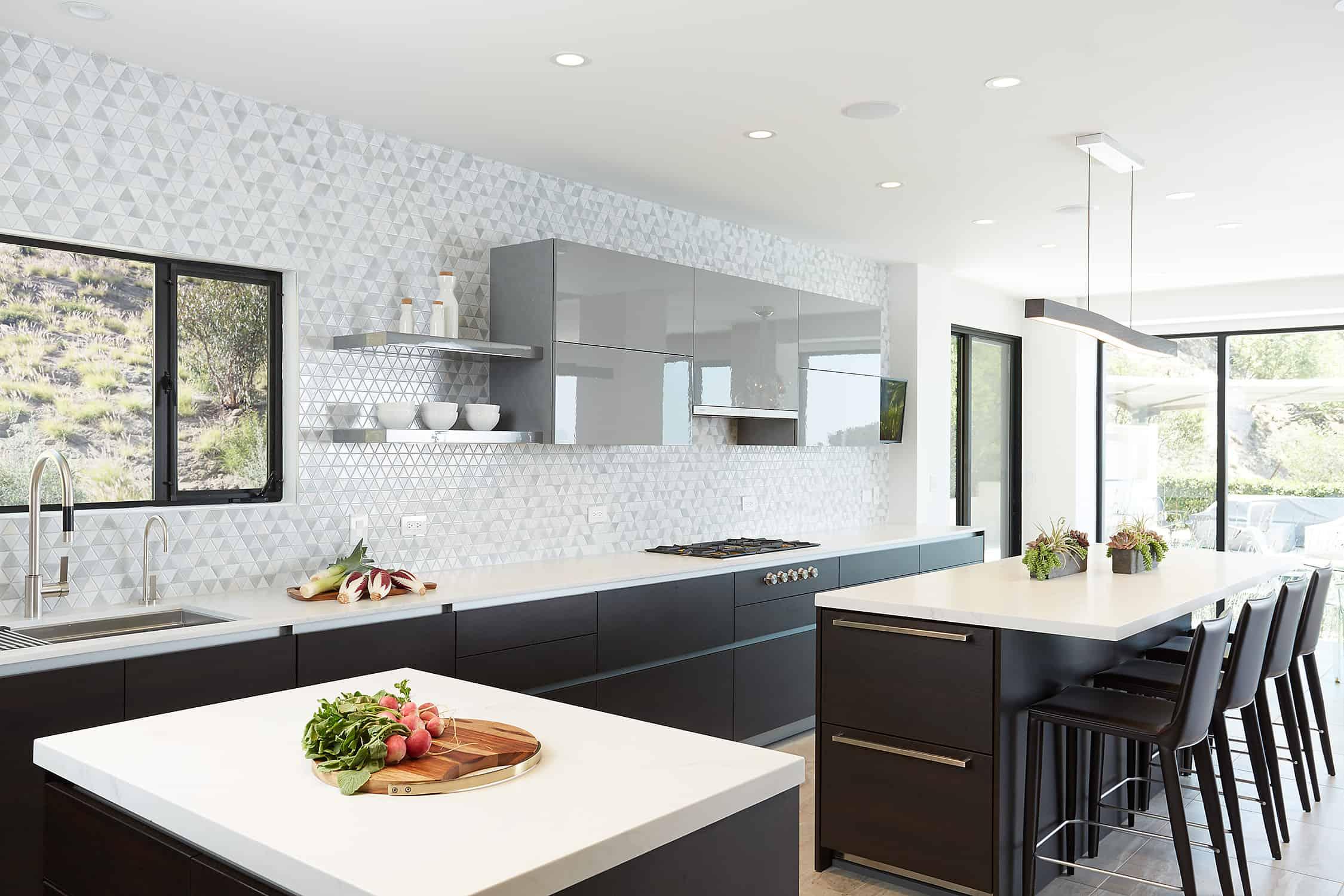 moussa kitchen project completed by eggersmann la features 2 separate kitchen islands