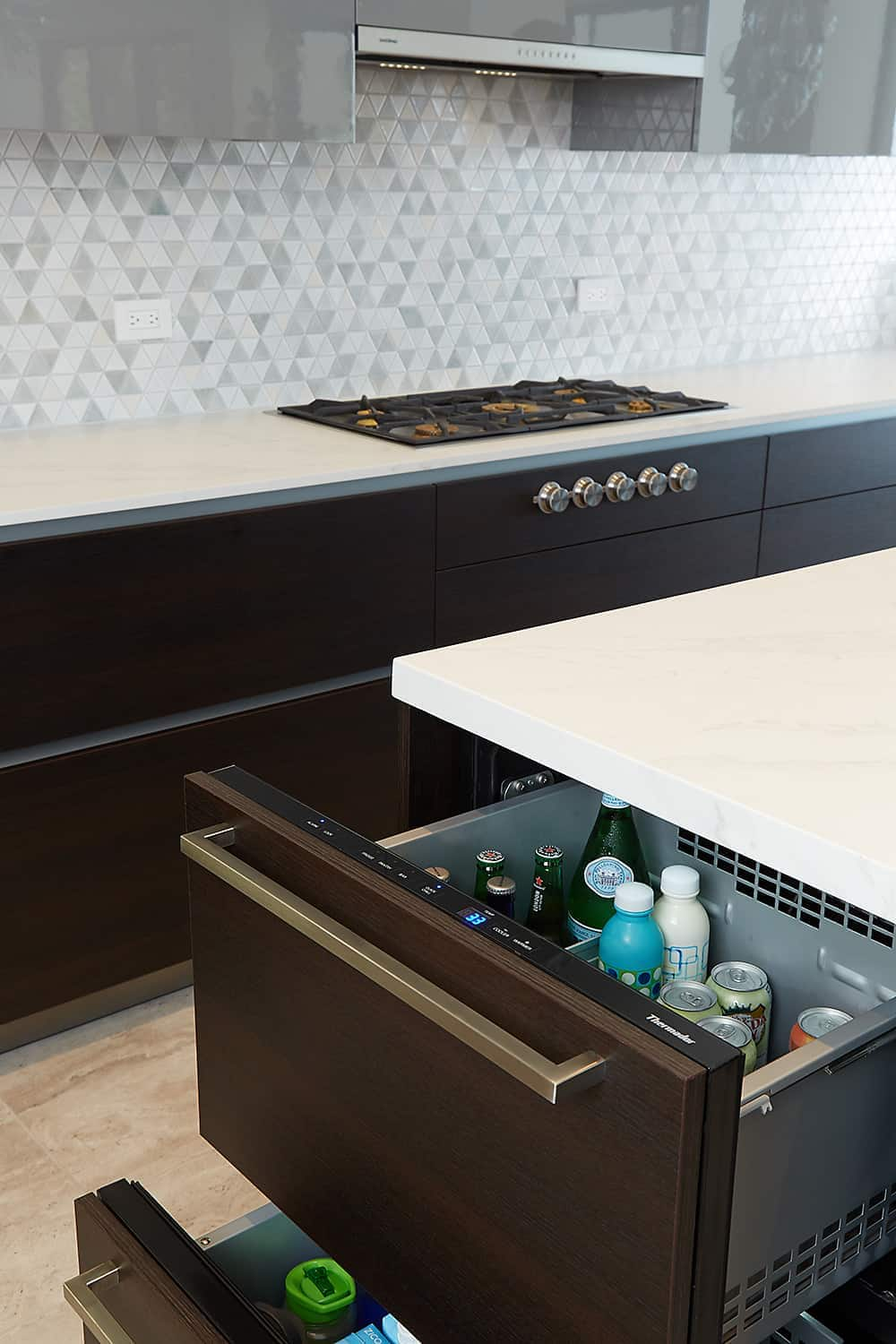 refrigerated drawers of the moussa kitchen project completed by eggersmann la
