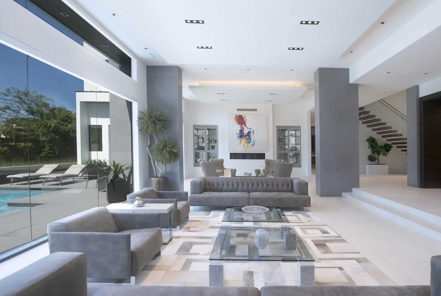 great room of an ultra-modern tanglewood area home in houston