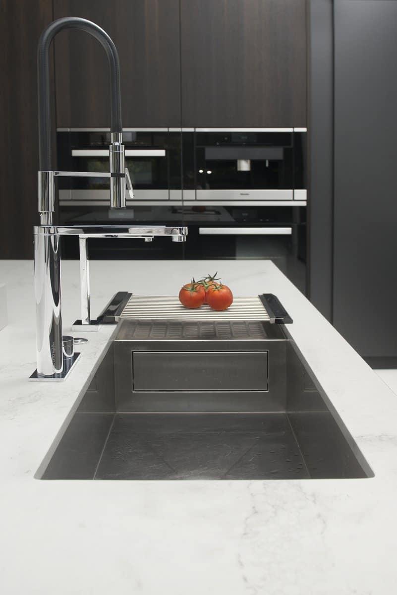 elegant kitchen sink with extra tall gooseneck pot filler faucet