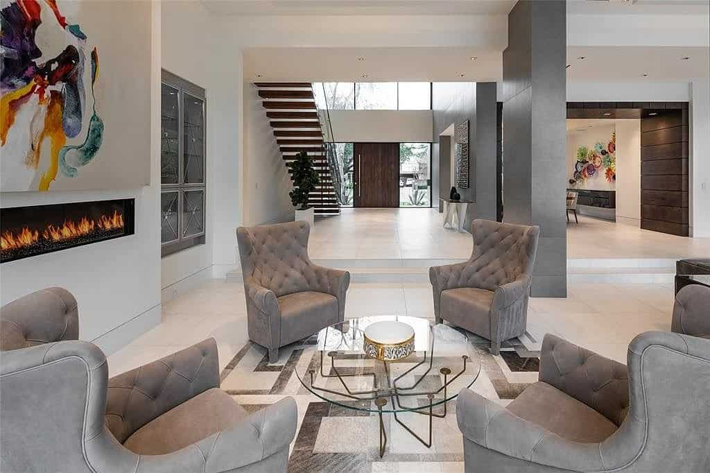 sitting area with traditional furnishings add interest to this contemporary houston home