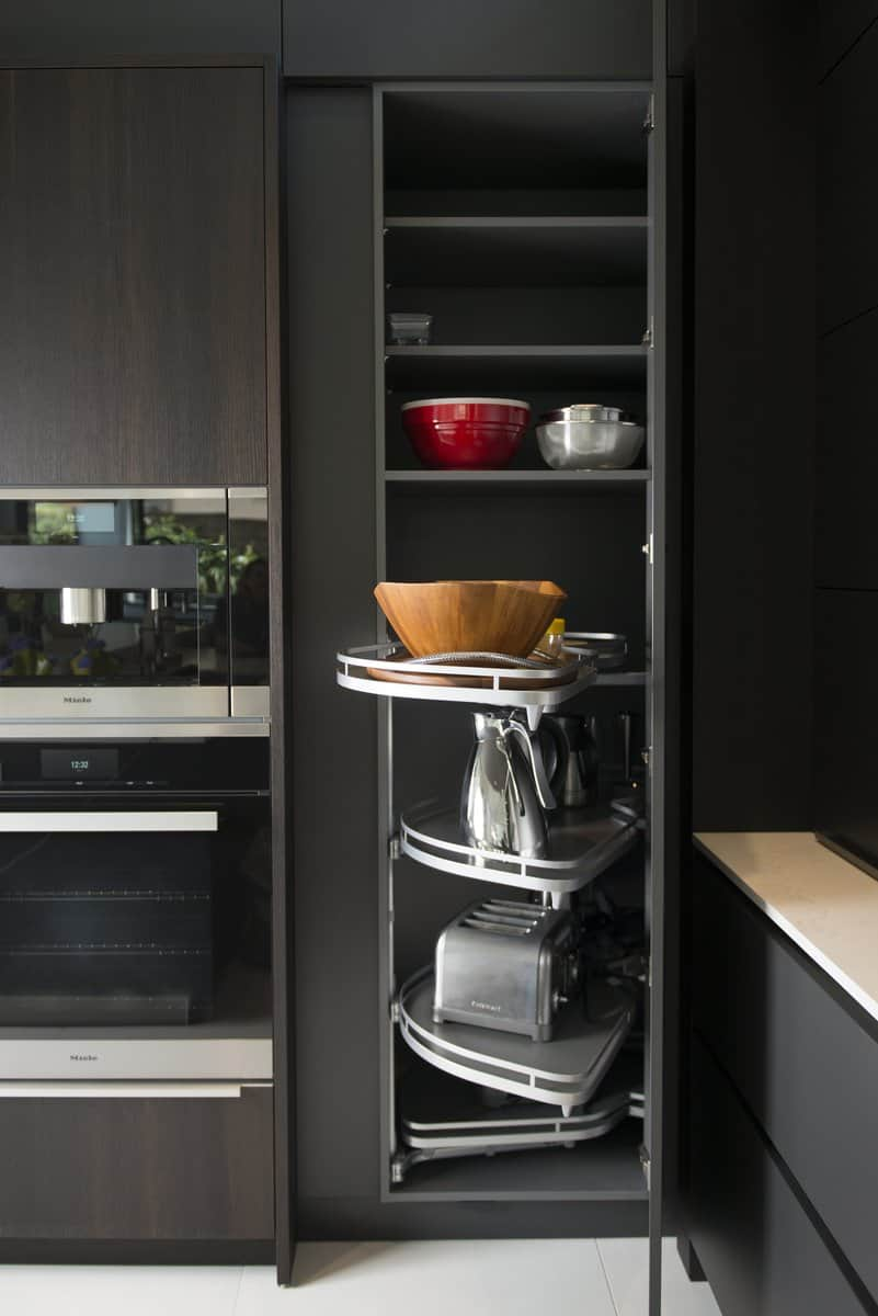 convenient small appliances pantry keeps modern countertops free of clutter
