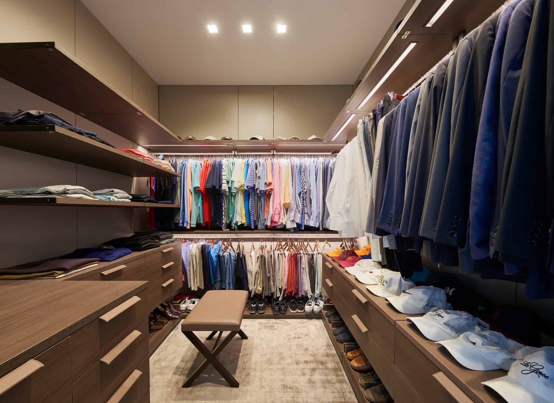 His closet fully custom designed with Schmalenbach solutions