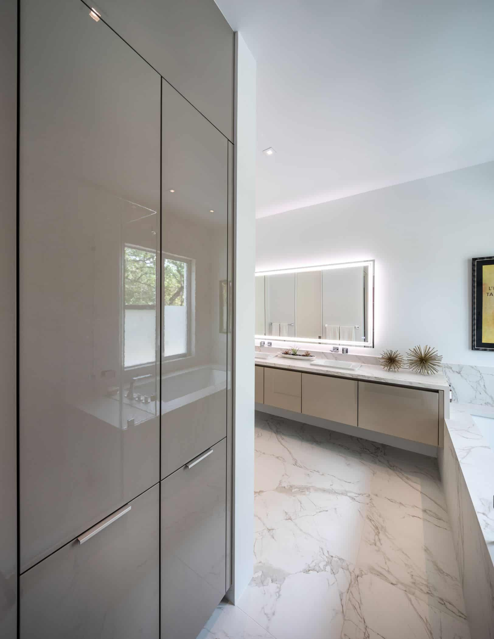 storage cabinetry in amaster bathroom fitted by eggersmann in a houston new construction home