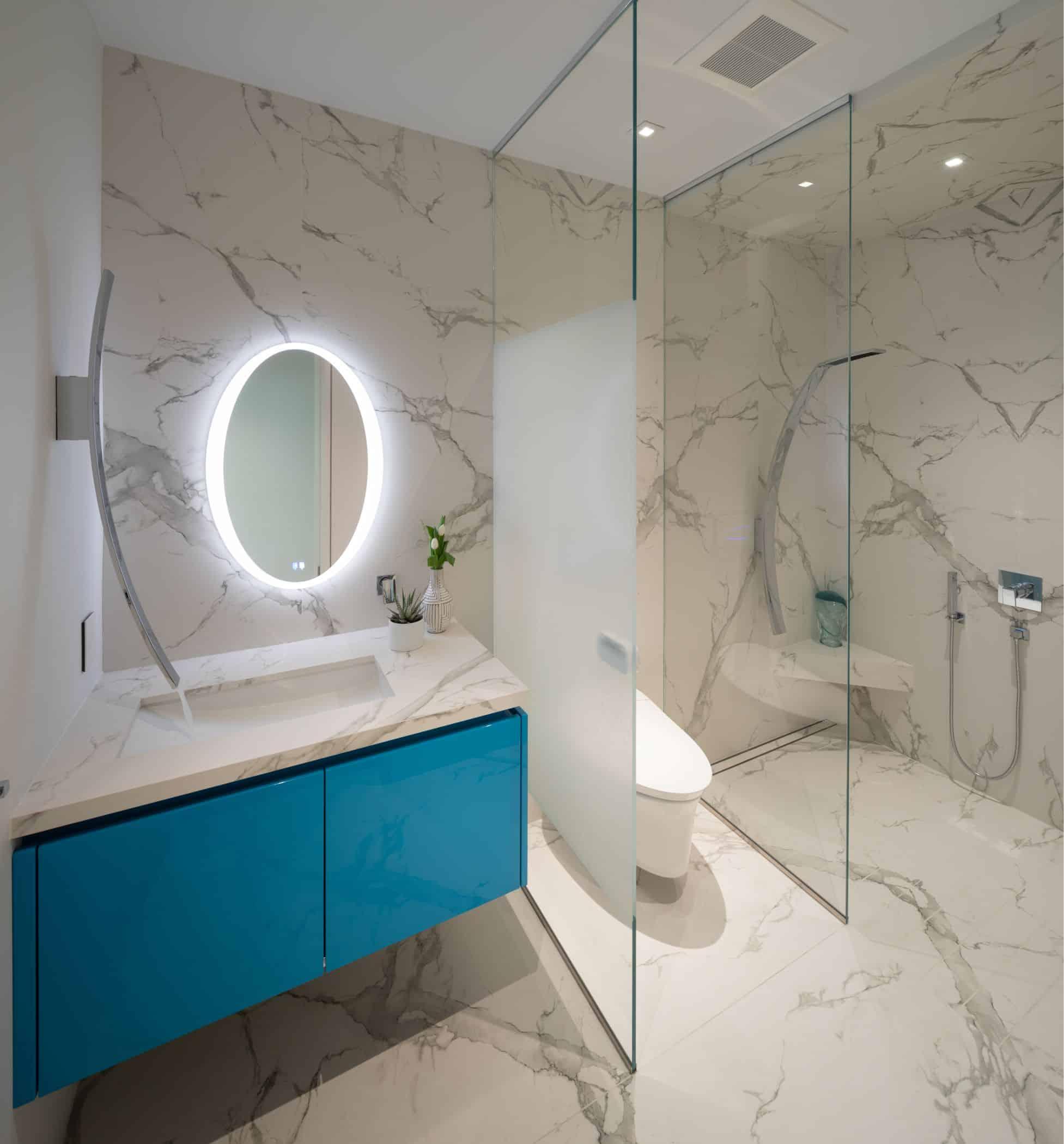 pool bathroom features a custom retro aqua porsche blue on the eggersmann vanity