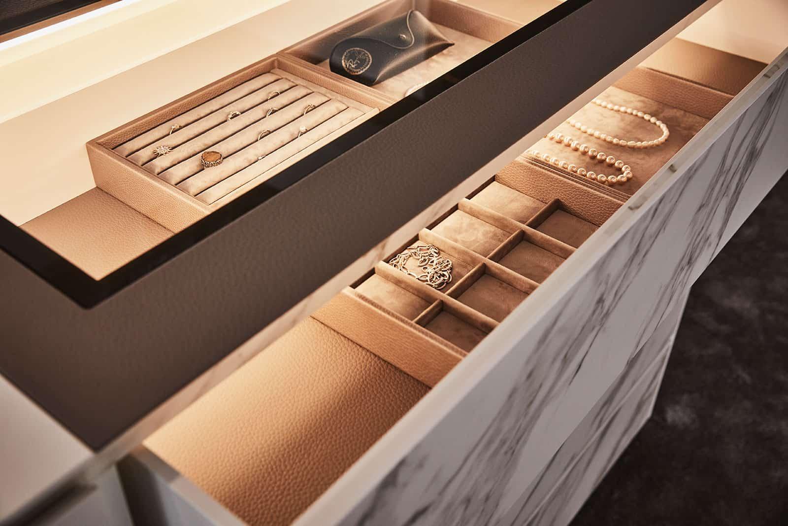luxury jewelry displays and organizers inside schmalenbach closet system