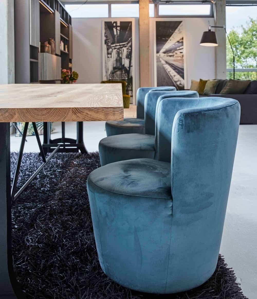custom luxury barrel chairs in aqua blue velvet