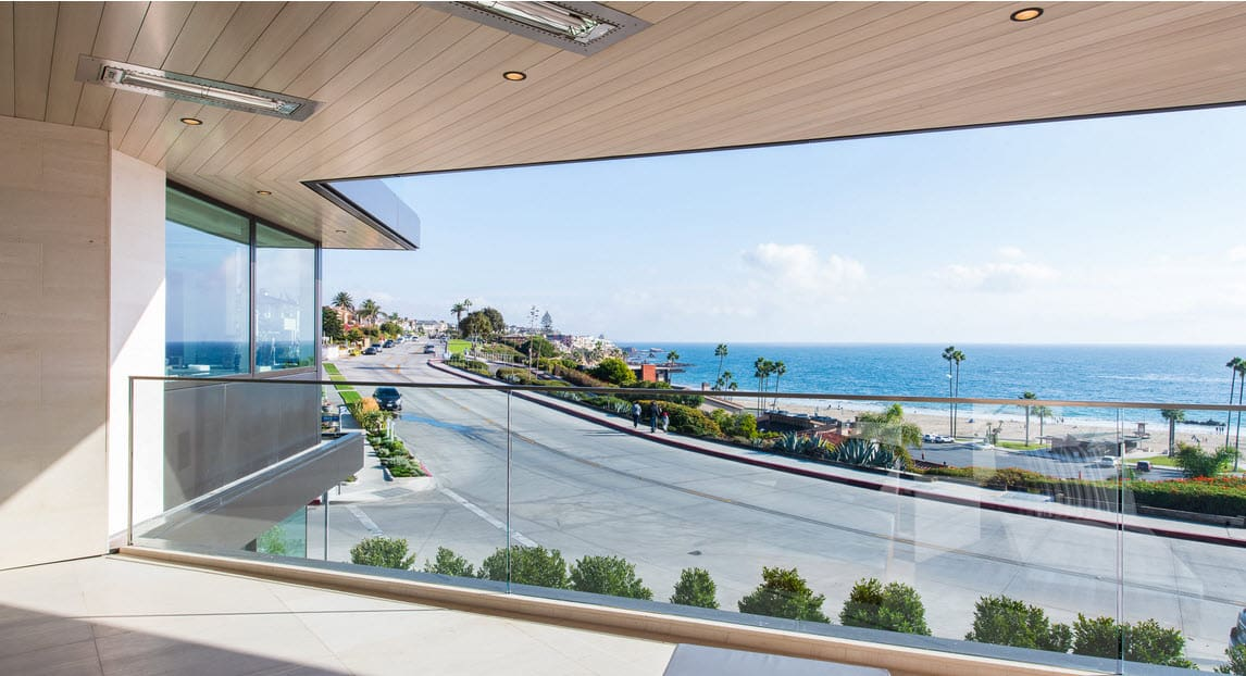 pacific ocean view from the terrace of a luxury beachfront home in newport news, california
